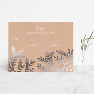 Leaves and Kraft Foil-Pressed RSVP Cards