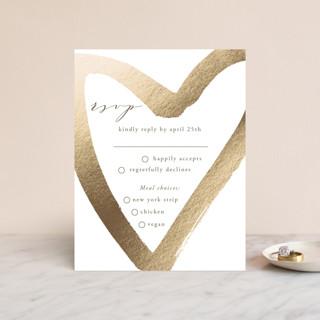 love heart Foil-Pressed RSVP Cards