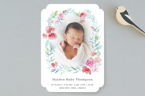 Watercolor Floral Laurel Birth Announcements