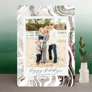 Watercolor Marble Holiday Photo Cards