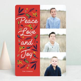 Peace Love Joy Triple Holiday Photo Cards