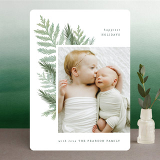 Chic Greenery Holiday Photo Cards