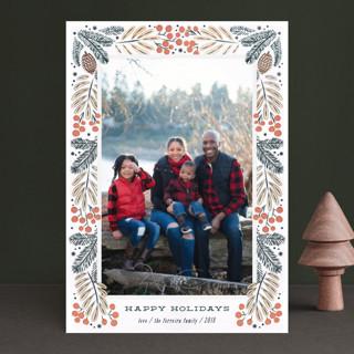 Foliage wreath Holiday Photo Cards