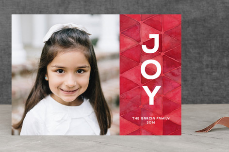 Watercolor Geo Joy Holiday Photo Cards