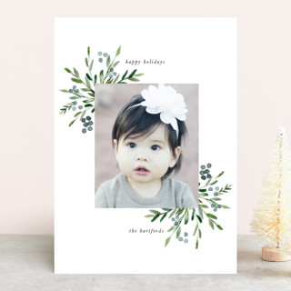 Watercolor Branches Holiday Photo Cards