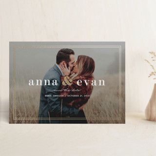 Framed Date Foil-Pressed Save the Date Petite Cards