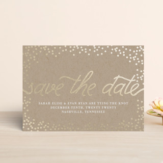 Starlight Foil-Pressed Save the Date Petite Cards