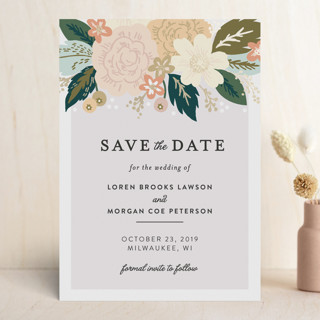 Classic Floral Foil-Pressed Save The Date Cards