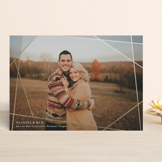 Mosaic window of love Foil-Pressed Save The Date Cards