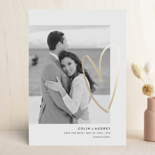 Drawn Heart Foil-Pressed Save The Date Cards