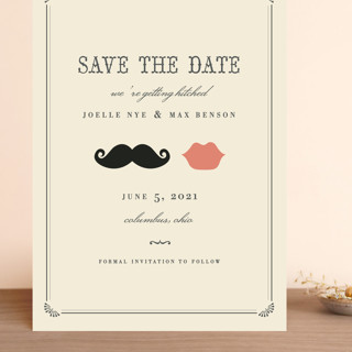 Stache + Kiss Grand Save The Date Cards