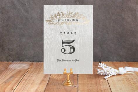 Woodland Romance Foil-Pressed Wedding Table Numbers