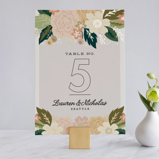 Classic Floral Foil-Pressed Wedding Table Numbers