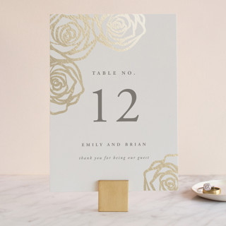 Rose Box Foil-Pressed Wedding Table Numbers