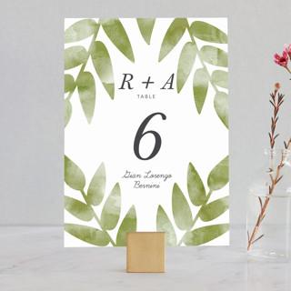 Watercolor Leaf Wedding Table Numbers