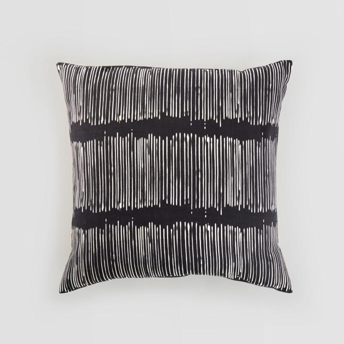 Matchstick Black Textured Cotton Pillow Cover