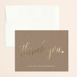 Charming Love Foil-Pressed Thank You Card