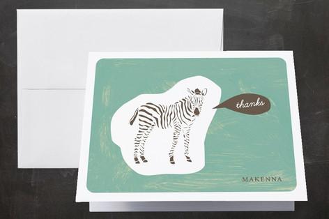 Zebra Cutout Folded Thank You Card