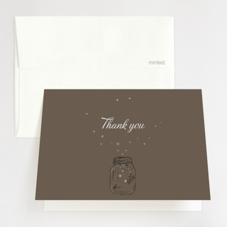 Fireflies Foil-Pressed Folded Thank You Card