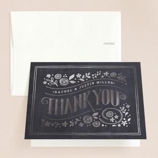 Alabaster Florals Foil-Pressed Folded Thank You Card