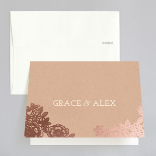 Lace and Kraft Foil-Pressed Folded Thank You Card