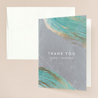 Abstract Splendor Foil-Pressed Folded Thank You Card