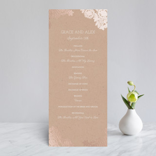 Lace and Kraft Foil-Pressed Wedding Programs